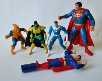 Vintage Superhero and Supervillain Figures - 1990s Die Cast Metal and Plastic Small Action Figures from Marvel & DC Comics