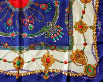 1980s Vintage Square Scarf with Gold Chains and Jewels Design on Blue - Gorgeous Classic Printed Scarf