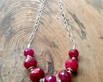 Ruby Necklace, Ruby Sterling Silver Necklace, Ruby Statement Necklace