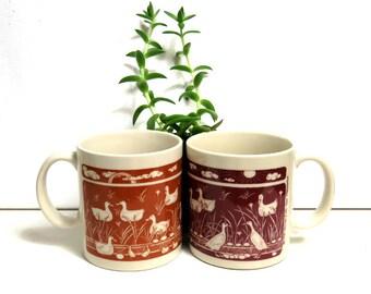 Taylor & NG Coffee Mug Pair/ 1978 Duck Pond/ Two Vintage Coffee Cups