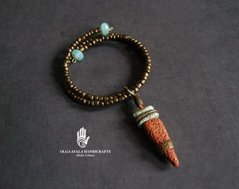 Adjustable Copper Beaded Bracelet with Clay Dangle