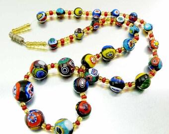 Vintage 60s Italian Venetian Murano Millefiori Graduating Round Art Glass Bead Necklace Golds Blues Yellows Reds Thousand Flowers Cane Beads