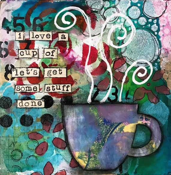 Original Painting for Coffee Lovers Great Gift Painting on Wooden Panel Colorful Whimsical