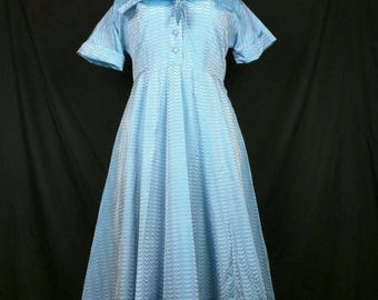 Vintage Blue Scalloped Pattern Taffeta Day Dress Misses XL 50s