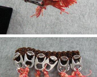 Pop Tab Bracelet - Crochet Bracelet - Brown Bracelet with Peach Mix Tassels - Bracelet