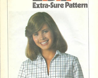 1970s Simplicity 8183 Vintage Sewing Pattern Misses Casual Blouse, Pullover Shirt, Blouson Top Size 10-12-14 Bust 32-1/2-34-36