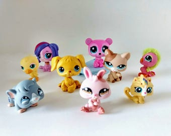 Eight Littlest Pet Shop LPS figurines with bobblin' heads guinea pig, Puppy dog, Cat, bird, rabbit Game Pcs party supply favors cake toppers