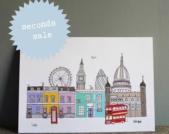 London Print A4 - SECONDS SALE - Colour London Illustration - London Skyline - New Home Gift - London Gift