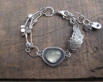 Rose cut prehnite bracelet, asymmetric bracelet, leaf bracelet by teresamatheson