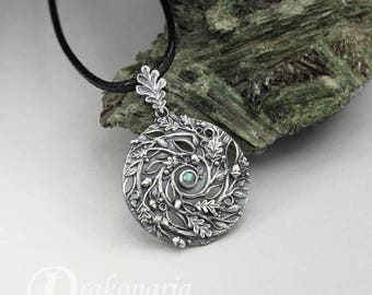 Spiral of Life - forest - sterling silver and labradorite pendant, oak leaves, branches and acorns, druid, spiritual, limited collection