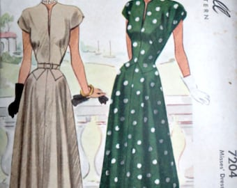 Sewing Pattern, Vintage 40's McCall 7204 Misses Dress, Size 12, 30 Bust, 1940's Fashion