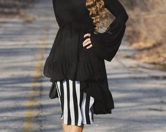 LillyAnnaLadies HOLLY Noir Shirt top Modest Hi Low