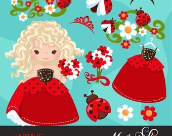 Ladybug Clipart, Cute flowers, little girls & borders. Summer graphics, party printables, digitized embroidery, planner stickers, characters
