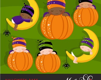 Halloween Baby Clipart. New baby graphics for Halloween, gender reveal party, cute characters, pumpkin, african american baby, dark skin