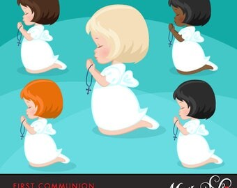 First Communion Clipart for Girls. Communion characters, graphics, praying girls, African American, holy, religious illustrations, christian