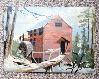 Vintage paint-by-number picture - picturesque water mill