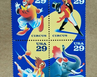 Vintage unused postage stamps - Circus stamps, 29 cent stamps, a lot of eight (8) stamps, face value 2.32