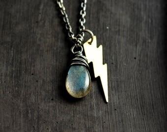 Lightning Charm Necklace, Labradorite Necklace, Labradorite Pendant Necklace, Weather Pendant