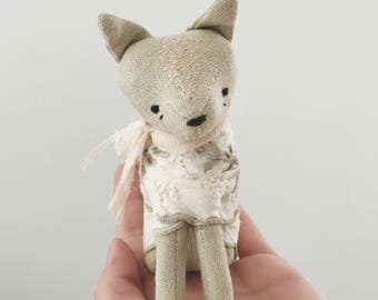 linen whisper fox | soft sculpture animal