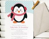 Penguin party invitation, penguin birthday party, first birthday, winter birthday, penguin party invitation, baby shower, 1st birthday party