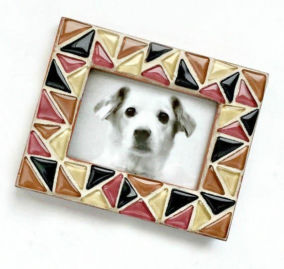 Earth Tone Mosaic Frame, Small Photo Frame, Glass Tile Mosaic Frame, Mini Mosaic Frame, Brown Terracotta Black Triangle Mosaic Frame