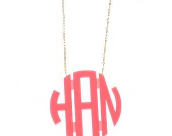 Heartstrings XLarge Circle Monogram Acrylic Necklace