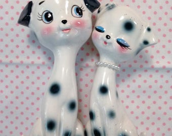 Vintage Japan Kogei Bito Ceramic Spotted Dog Couple White N Black Big Eye Set w Box