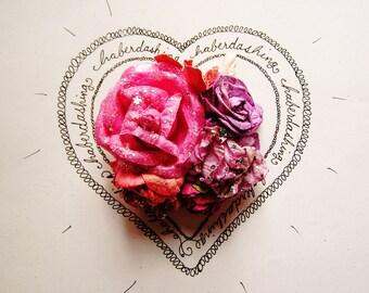Magenta Strawberry Violet Glittered Handmade Roses Vintage style Millinery flower corsage