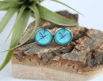 Portland PDX Airport Carpet Illustrated Earrings | ATL-E-PDX