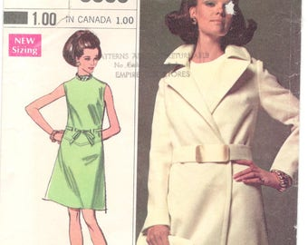 Simplicity 8096 1960s Misses Designer Dress and Wrap Coat Pattern Womens Vintage Sewing Pattern  Size 12 Bust 34