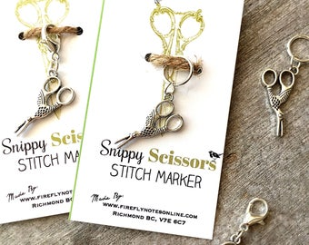 Stork Scissors stitch marker, 10 mm snag free or removable project keeper