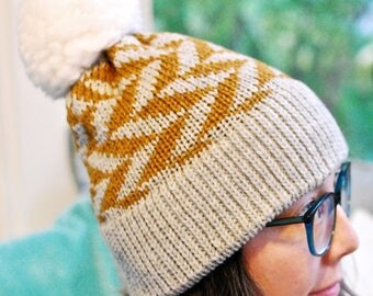 Machine Knit Fair Isle Hat // Arrow Pattern // Winter Accessory // Soft and Squishy
