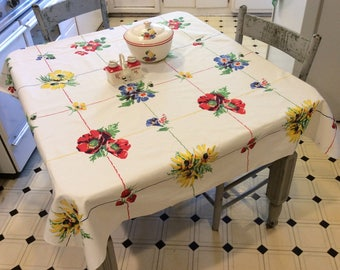 Vintage Wilendur Tablecloth Rosemead Poppies Morning Glories Strawberries