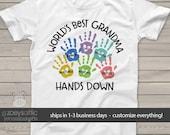 Grandma shirt - worlds best grandma t-shirt nana shirts hands down T shirt personalized with grandkids names MMGA1-018