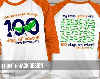 Teacher shirt - 100 Days Smarter - gators 100 hundred day personalized unisex raglan shirt  MSCL-128-r
