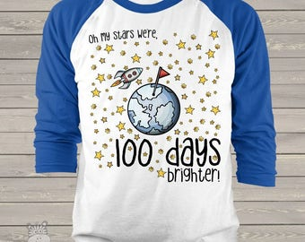 Teacher shirt - 100 Days brighter stars hundred day raglan shirt for teachers   mscl-116-r