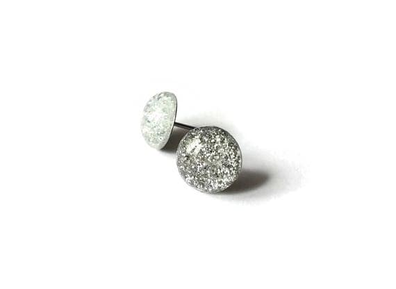 10mm White and silver glitter stud earrings - Hypoallergenic pure titanium and resin