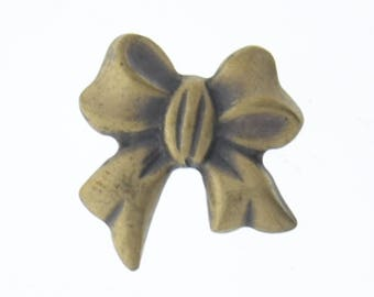 Brass stamping Bow Charm 19x20mm Bow, Antique Gold, 04152AG 3 each per sale
