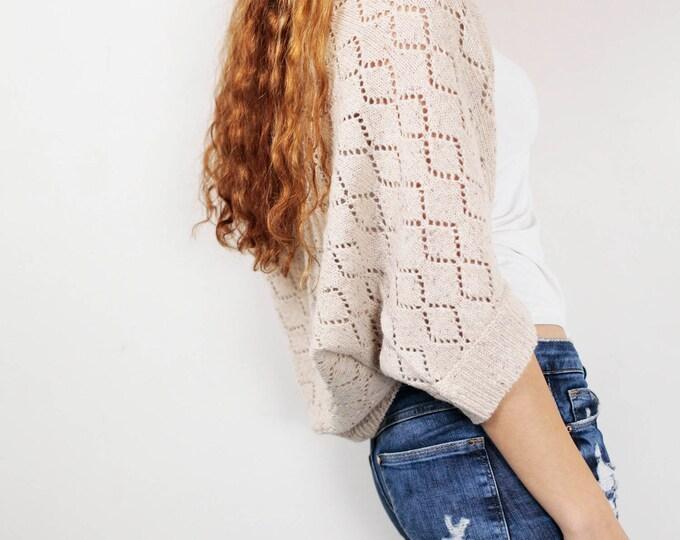 Knit woman sweater Little cardigan sweater little shrug light wheat sweater