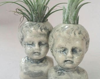 Baby Doll Air Plant Vase pudgy face, air plant holder, bud vase, Listing is for ONE vase