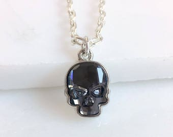 Silver crystal skull necklace- skull post necklace - skull stud necklace - Swarovski crystal skull