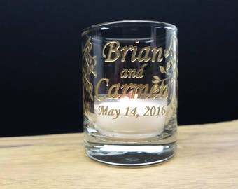 36 Gold Colored Custom Engraved Votive Holders 'Branches and Leaves' Wedding Favors Party Decor