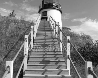 Owl's Head Lighthouse (Black and White)