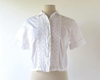 White Lace Blouse | 1950s Blouse | 60s Blouse | Large L