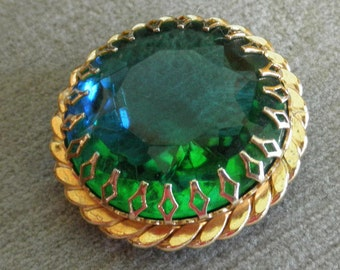 Stunning Vintage Rhinestone Brooch with Large BiColor Blue / Green Rivoli Glass Gem