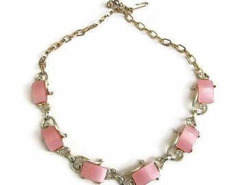 SALE Pink Lucite Thermoset Scroll Necklace Vintage