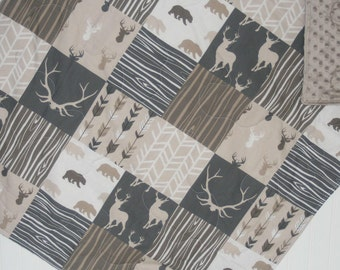 taupe baby quilt- baby boy quilt -minky baby quilt- deer baby quilt- woodland baby bedding-baby boy bedding-arrow baby quilt-bear baby quilt