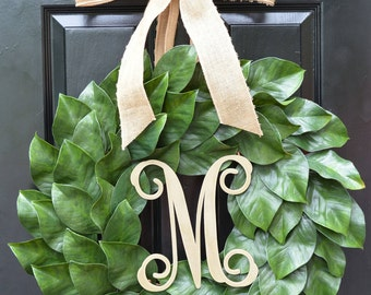 Magnolia Wreath, Artificial Magnolia Wreath, Magnolia Leaves Door Wreath, Fixer Upper Southern Decor Year Round Wreath Ready to SHip 26 inch