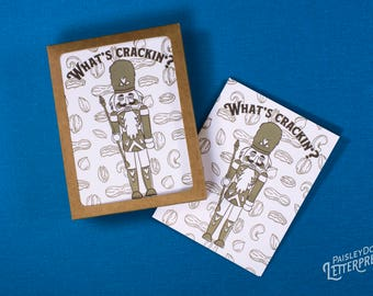 NEW 2017* Letterpress Greeting Cards - What's Crackin? / Nutcracker / Holiday / Christmas / New Year / Gift (Boxed Set of 6)