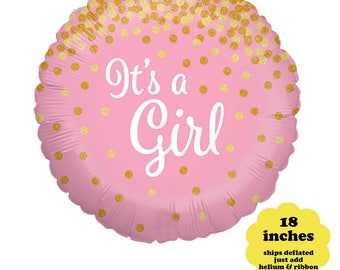 """It's A Girl Balloon - 18"""" tall - Girl Baby Shower Balloon Pink Gold Party Decor It's A Girl Confetti Balloon Gender Reveal Pink Balloon"""
